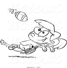 vector of a cartoon running catching a football outlined