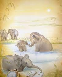 elephant art print baby elephant painting jungle book