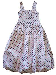 lilith white cotton with red polka dots bubble dress