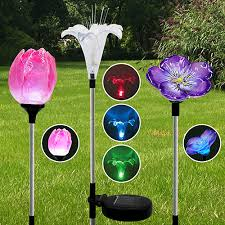 three solar powered led flower garden light set patio outdoor
