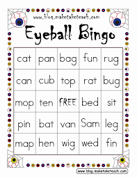 Halloween Activity Sheets And Printables Free Halloween Themed Bingo Games 6 Boards For Working On Cvc