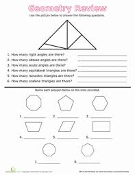 geometry review angles and polygons worksheet education com