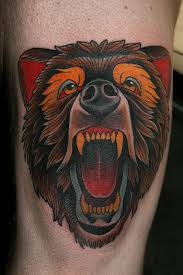 traditional roaring bear head tattoo design by stefan johnsson