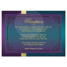enclosure cards wedding reception enclosure card purple teal peacock feathers