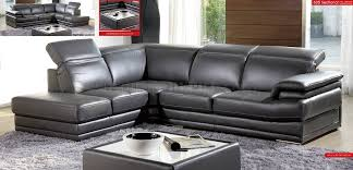 Grey Leather Sectional Sofa Grey Genuine Italian Leather Modern Sectional Sofa