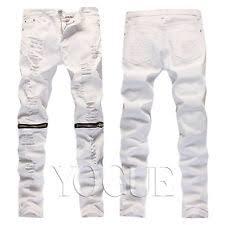 Skinny White Jeans Mens Men Skinny Slim Fit Jeans Ripped Distressed Denim Pants Knee