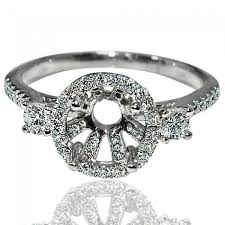 stone vintage rings images Vintage ring setting 0 6ct 14k white gold 3 stone halo fits 0 75ct jpg