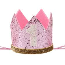 number 1 headband qifu gold silver birthday crown pink 1st girl princess crown