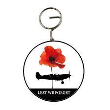 lest we forget single poppy raf spitfire fighter 58mm key ring