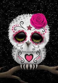 pink day of the dead sugar skull owl metal prints by jeff