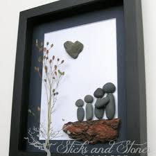 unique family gift pebble family from sticksnstone on etsy