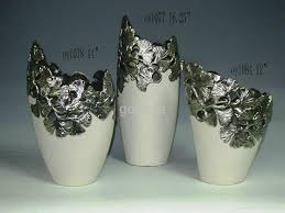 Creative Flower Vases Pierced Ceramic Flower Vases In Silver 1077 1078 1084 Oy