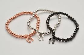 rose gold bead bracelet images Rose gold black and silver horseshoe beaded bracelets beaded jpg