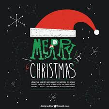 black christmas card with santa claus u0027s hat vector free download
