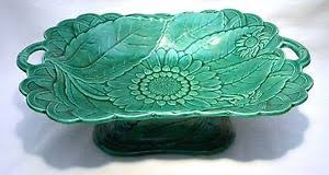 victorian wedgwood majolica green sunflower pedestal serving dish