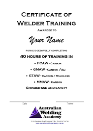 cert of training australian welding academy