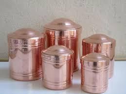 copper kitchen canister sets set 5 vintage copper tin lined canisters vintage