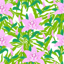 Tropical Decor Vector Seamless Floral Pattern With Tropical Decor Big Pink