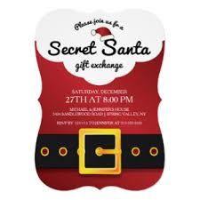 contemporary invitation for your secret santa themed gift exchange