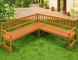 wooden corner bench garden patio park furniture outdoor eucalyptus