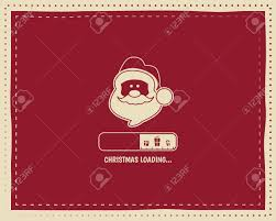 christmas loading round vintage card design with santa and bar