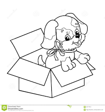 coloring outline cute puppy box cartoon dog bow