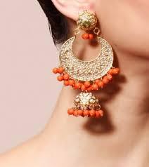 designer earrings earrings coral and golden gold plated designer earrings online