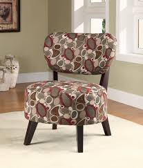 traditonal printed fabric armless accent chair on white area rug