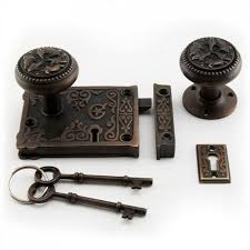 ornamental lock set with knobs hardware