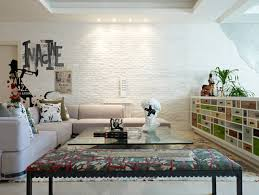 fireplace gorgeous kitchen design with whitewash brick wall and artistic living room ideas with wall mural on