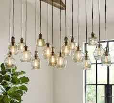 barn pendant light fixtures paxton glass 16 light pendant pottery barn