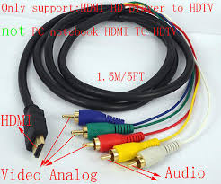 hdmi to 5 rca male audio video component convert cable for hdtv tv