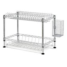 Dish Drainer Sandusky 2 Tier Wire Dish Rack In Chrome Wdr101812 The Home Depot