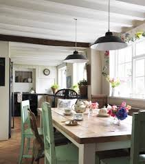 farmhouse table lighting dining room traditional with white