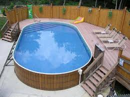 above ground pool deck ideas from wood for relaxation area at home