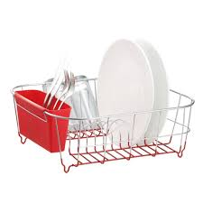 Dish Drying Rack For Sink Amazon Com Deluxe Chrome Plated Steel Small Dish Drainers Red