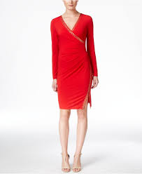 calvin klein ruched faux wrap studded sheath dress in red lyst