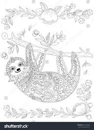 vector ornate cute sloth tree stock vector 461504680 shutterstock