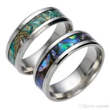 colored wedding rings images Mens womens titanium steel polished wedding colored abalone shells jpg