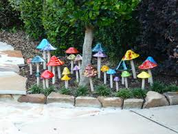 ceramic mushrooms for the garden design interest for the