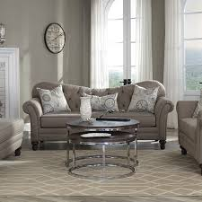 carnahan traditional stone grey fabric tufted reverse camel back