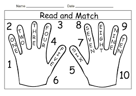 read and match printable hand number words from 1 to 10