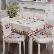 table chair covers embroidered hollow tablecloth dining table chair cover set tea
