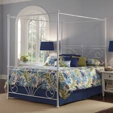 White Metal Kingsize Bed Frame Brown Wooden King Size Canopy Bed Frame With An Interesting Design