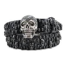 black leather skull bracelet images Leather island belts bill lavin leather skulls belt black jpeg