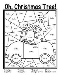 christmas tree multiplication coloring sheet math facts color