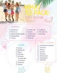 what to pack beach vacation checklist clairesblogvacation