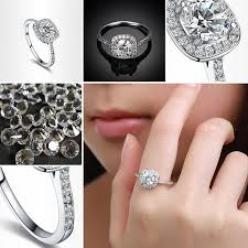 round square rings images Women engagement ring silver wedding ring plated elegant round jpg