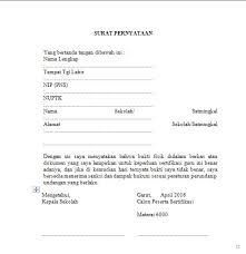 contoh surat pernyataan format a1 download contoh formulir pendaftaran peserta sertifikasi guru pai