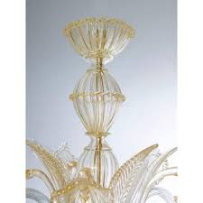 gold italian venetian murano glass chandelier 1990s